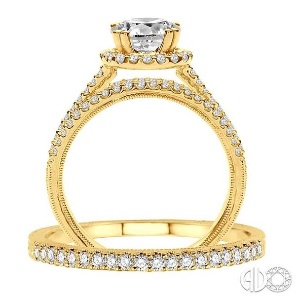 1 1/3 Ctw Diamond Wedding Set with 1 1/6 Ctw Round Cut Engagement Ring and 1/6 Ctw Wedding Band in 14K Yellow Gold Image 3 Trinity Diamonds Inc. Tucson, AZ