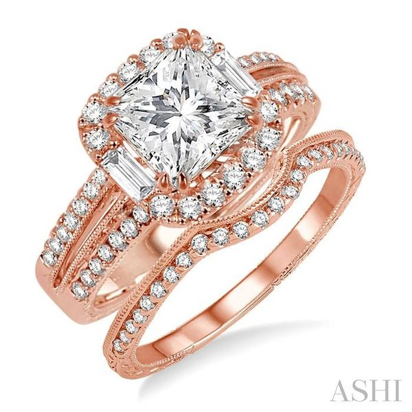 1 1/10 Ctw Diamond Wedding Set with 1 Ctw Princess Cut Engagement Ring and 1/8 Ctw Wedding Band in 14K Rose Gold Trinity Diamonds Inc. Tucson, AZ