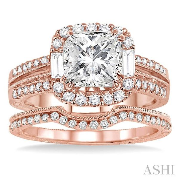 1 1/10 Ctw Diamond Wedding Set with 1 Ctw Princess Cut Engagement Ring and 1/8 Ctw Wedding Band in 14K Rose Gold Image 2 Trinity Diamonds Inc. Tucson, AZ
