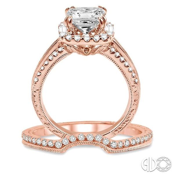 1 1/10 Ctw Diamond Wedding Set with 1 Ctw Princess Cut Engagement Ring and 1/8 Ctw Wedding Band in 14K Rose Gold Image 3 Trinity Diamonds Inc. Tucson, AZ