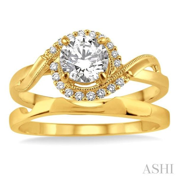 1/3 Ctw Diamond Wedding Set with 1/3 Ctw Round Cut Engagement Ring and Wedding Band in 14K Yellow Gold Image 2 Trinity Diamonds Inc. Tucson, AZ
