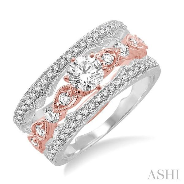 5/8 Ctw Diamond Wedding Set with 1/2 Ctw Round Cut Engagement Ring and two 1/10 Ctw Wedding Band in 14K Rose and White Gold Trinity Diamonds Inc. Tucson, AZ