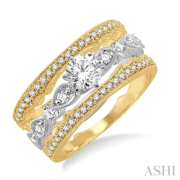 5/8 Ctw Diamond Wedding Set with 1/2 Ctw Round Cut Engagement Ring and two 1/10 Ctw Wedding Band in 14K White and Yellow Gold Trinity Diamonds Inc. Tucson, AZ