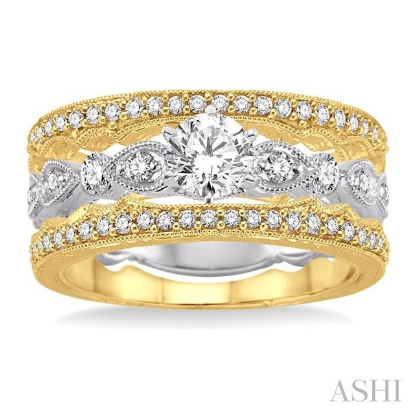5/8 Ctw Diamond Wedding Set with 1/2 Ctw Round Cut Engagement Ring and two 1/10 Ctw Wedding Band in 14K White and Yellow Gold Image 2 Trinity Diamonds Inc. Tucson, AZ