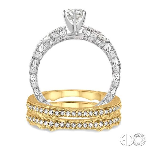 5/8 Ctw Diamond Wedding Set with 1/2 Ctw Round Cut Engagement Ring and two 1/10 Ctw Wedding Band in 14K White and Yellow Gold Image 3 Trinity Diamonds Inc. Tucson, AZ