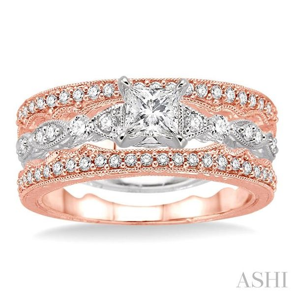 5/8 Ctw Diamond Wedding Set with 3/8 Ctw Princess Cut Engagement Ring and two 1/5 Ctw Wedding Band in 14K White and Rose Gold Image 2 Trinity Diamonds Inc. Tucson, AZ