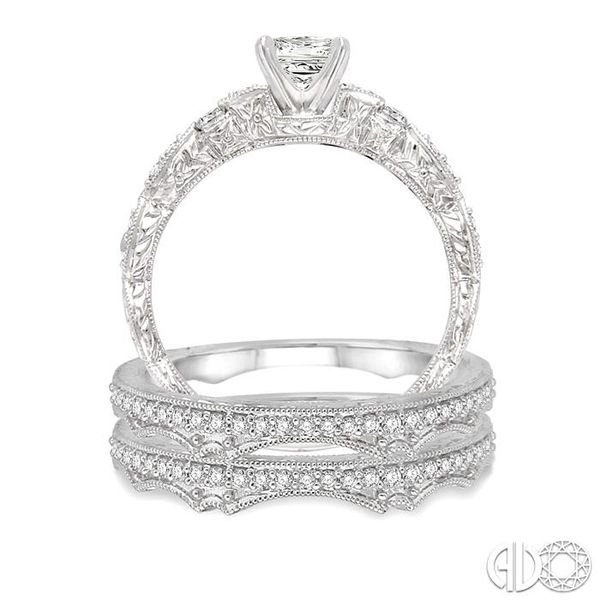 5/8 Ctw Diamond Wedding Set with 3/8 Ctw Princess Cut Engagement Ring and two 1/5 Ctw Wedding Band in 14K White Gold Image 3 Trinity Diamonds Inc. Tucson, AZ