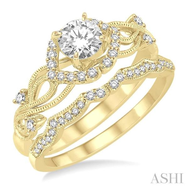 3/8 Ctw Diamond Wedding Set with 1/3 Ctw Round Cut Engagement Ring and 1/10 Ctw Wedding Band in 14K Yellow Gold Trinity Diamonds Inc. Tucson, AZ