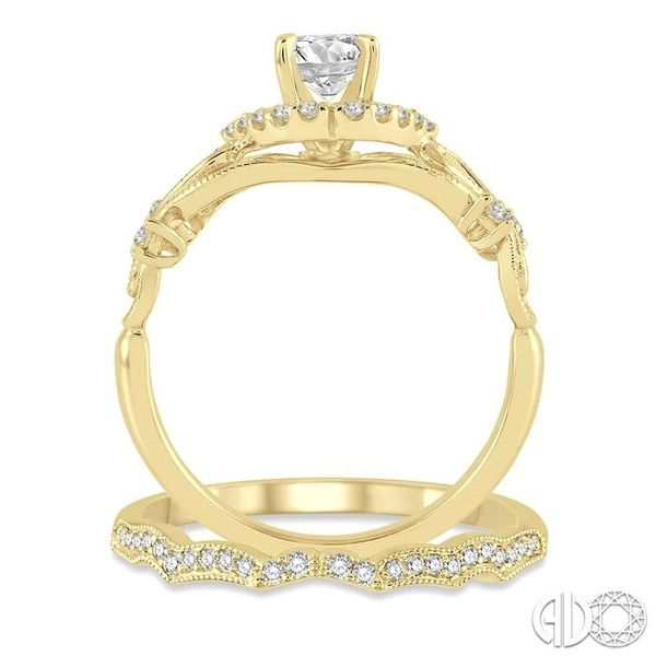 3/8 Ctw Diamond Wedding Set with 1/3 Ctw Round Cut Engagement Ring and 1/10 Ctw Wedding Band in 14K Yellow Gold Image 3 Trinity Diamonds Inc. Tucson, AZ
