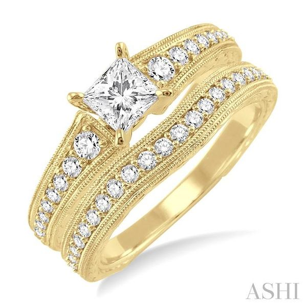 7/8 Ctw Diamond Wedding Set with 5/8 Ctw Princess Cut Engagement Ring and 1/5 Ctw Wedding Band in 14K Yellow Gold Trinity Diamonds Inc. Tucson, AZ