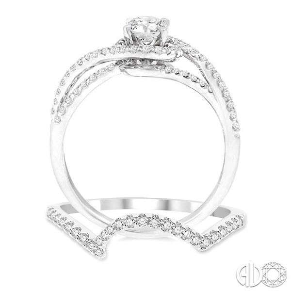 3/4 Ctw Diamond Wedding Set with 5/8 Ctw Round Cut Engagement Ring and 1/10 Ctw Wedding Band in 14K White Gold Image 3 Trinity Diamonds Inc. Tucson, AZ