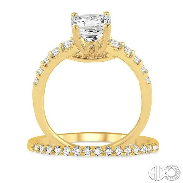 1 Ctw Diamond Wedding Set with 3/4 Ctw Princess Cut Engagement Ring and 1/5 Ctw Wedding Band in 14K Yellow Gold Image 3 Trinity Diamonds Inc. Tucson, AZ