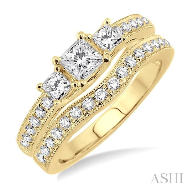 1 Ctw Diamond Wedding Set with 3/4 Ctw Princess Cut Engagement Ring and 1/5 Ctw Wedding Band in 14K Yellow Gold Trinity Diamonds Inc. Tucson, AZ