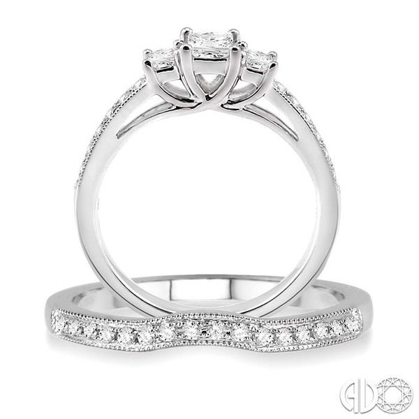 3/4 Ctw Diamond Wedding Set with 1/2 Ctw Princess Cut Engagement Ring and 1/5 Ctw Wedding Band in 14K White Gold Image 3 Trinity Diamonds Inc. Tucson, AZ