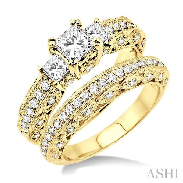1 5/8 Ctw Diamond Wedding Set with 1 1/4 Ctw Princess Cut Engagement Ring and 3/8 Ctw Wedding Band in 14K Yellow Gold Trinity Diamonds Inc. Tucson, AZ