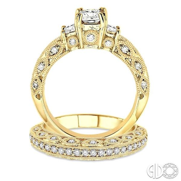 1 5/8 Ctw Diamond Wedding Set with 1 1/4 Ctw Princess Cut Engagement Ring and 3/8 Ctw Wedding Band in 14K Yellow Gold Image 3 Trinity Diamonds Inc. Tucson, AZ