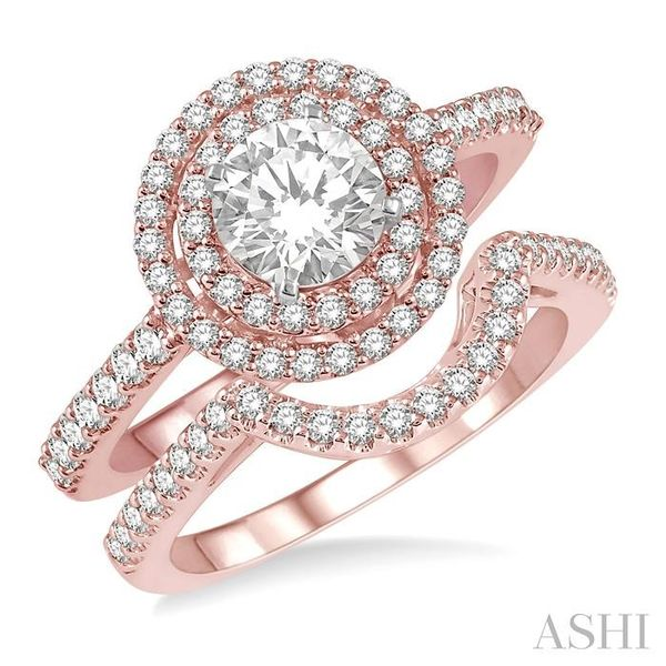 1 1/5 Ctw Diamond Wedding Set in 14K With 1 Ctw Round Shape Engagement Ring in Rose and White Gold and 1/5 Ctw U-Shape Wedding B Trinity Diamonds Inc. Tucson, AZ