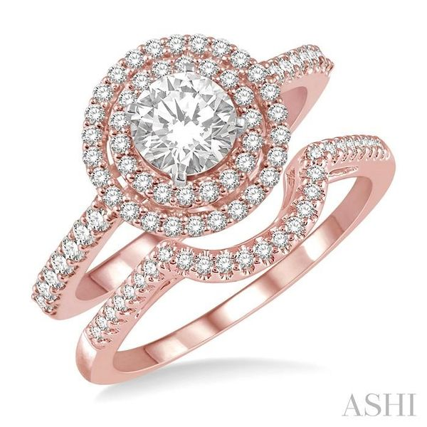 5/8 Ctw Diamond Wedding Set in 14K With 1/2 Ctw Round Shape Engagement Ring in Rose and White Gold and 1/10 Ctw U-Shape Wedding  Trinity Diamonds Inc. Tucson, AZ