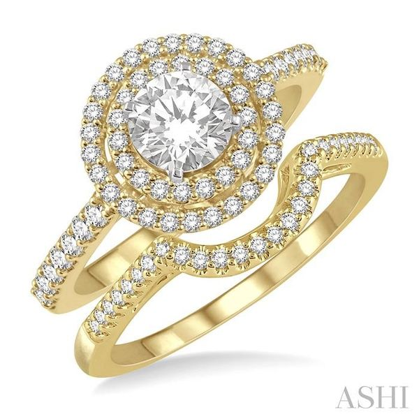 5/8 Ctw Diamond Wedding Set in 14K With 1/2 Ctw Round Shape Engagement Ring in Yellow and White Gold and 1/10 Ctw U-Shape Weddin Trinity Diamonds Inc. Tucson, AZ