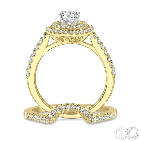 5/8 Ctw Diamond Wedding Set in 14K With 1/2 Ctw Round Shape Engagement Ring in Yellow and White Gold and 1/10 Ctw U-Shape Weddin Image 3 Trinity Diamonds Inc. Tucson, AZ
