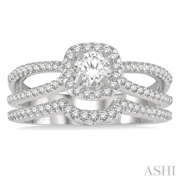 3/4 Ctw Diamond Wedding Set With 5/8 Ctw Cushion Shape Split Shank Engagement Ring and 1/6 Ctw Arched Wedding Band in 14K White  Image 2 Trinity Diamonds Inc. Tucson, AZ