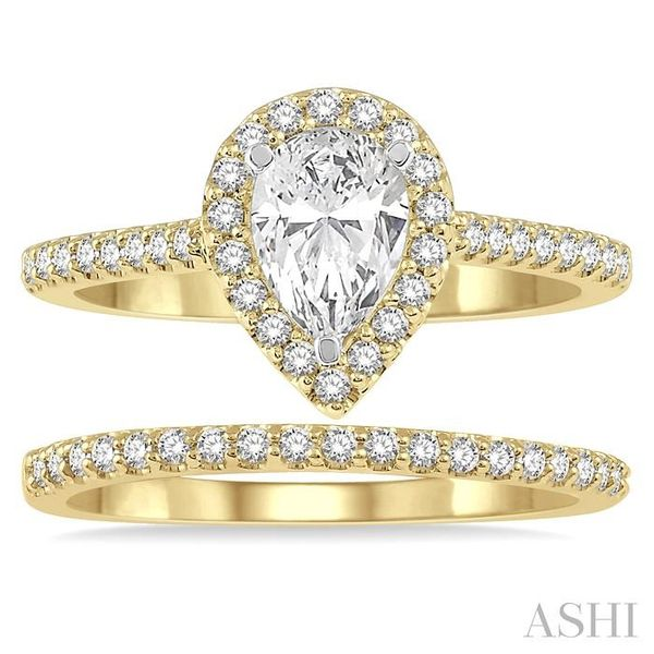 7/8 Ctw Diamond Wedding Set With 3/4 Ctw Pear Cut Engagement Ring and 1/6 Ctw Wedding Band in 14K Yellow and White Gold Image 2 Trinity Diamonds Inc. Tucson, AZ