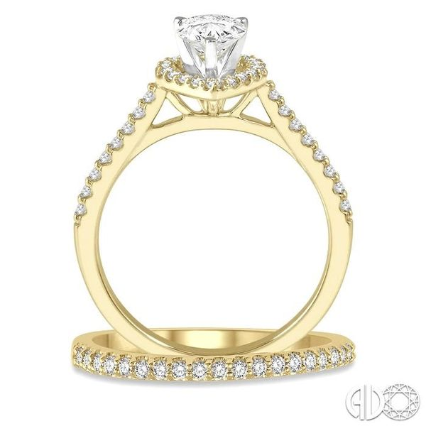 7/8 Ctw Diamond Wedding Set With 3/4 Ctw Pear Cut Engagement Ring and 1/6 Ctw Wedding Band in 14K Yellow and White Gold Image 3 Trinity Diamonds Inc. Tucson, AZ