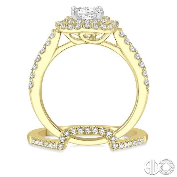 1 1/5 Ctw Diamond Wedding Set in 14K With 1 Ctw Cushion Shape Engagement Ring in Yellow and White Gold and 1/5 Ctw Wedding Band  Image 3 Trinity Diamonds Inc. Tucson, AZ