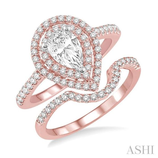 5/8 Ctw Diamond Wedding Set in 14K With 1/2 Ctw Pear Shape Engagement Ring in Rose and White Gold and 1/8 Ctw U-Cut Center Weddi Trinity Diamonds Inc. Tucson, AZ