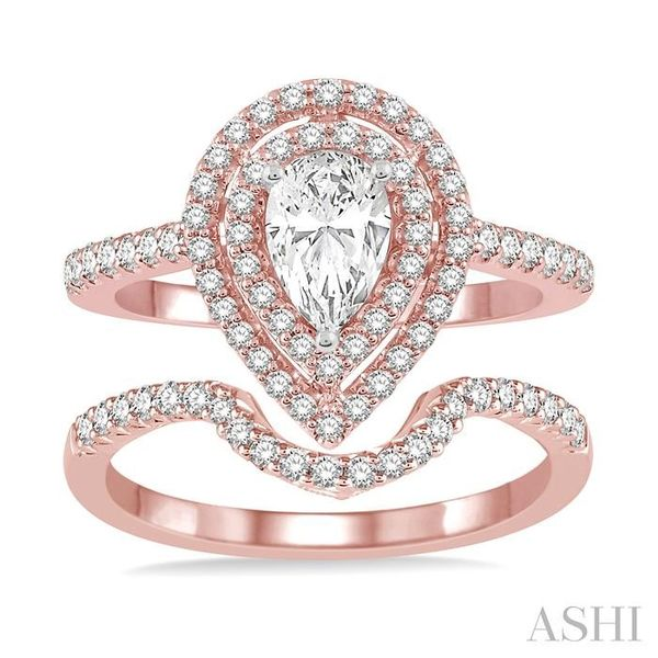 5/8 Ctw Diamond Wedding Set in 14K With 1/2 Ctw Pear Shape Engagement Ring in Rose and White Gold and 1/8 Ctw U-Cut Center Weddi Image 2 Trinity Diamonds Inc. Tucson, AZ