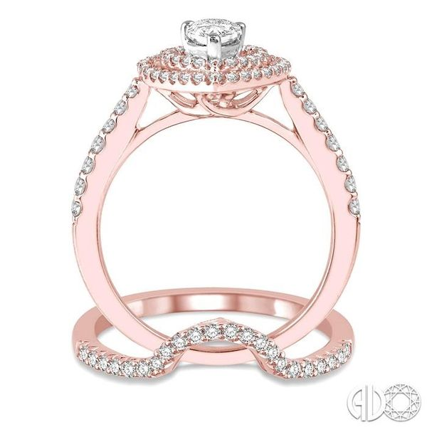 5/8 Ctw Diamond Wedding Set in 14K With 1/2 Ctw Pear Shape Engagement Ring in Rose and White Gold and 1/8 Ctw U-Cut Center Weddi Image 3 Trinity Diamonds Inc. Tucson, AZ