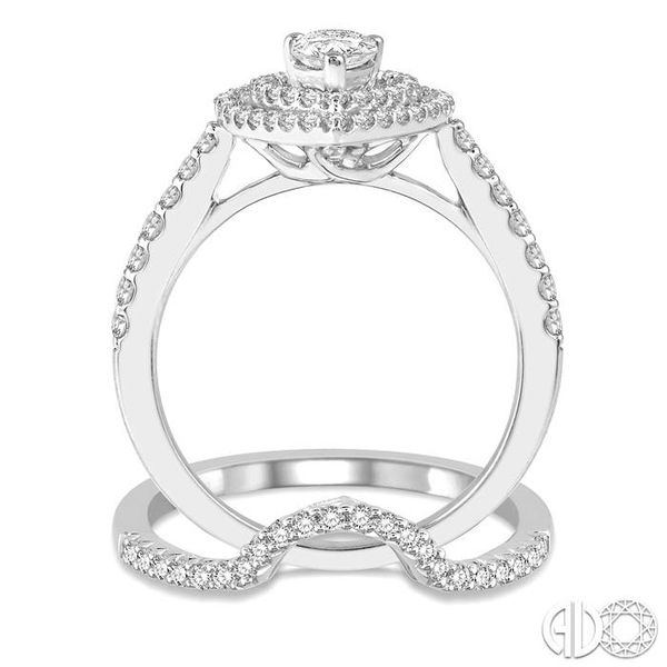 5/8 Ctw Diamond Wedding Set in 14K With 1/2 Ctw Pear Shape Engagement Ring and 1/8 Ctw U-Cut Center Wedding Band in White Gold Image 3 Trinity Diamonds Inc. Tucson, AZ