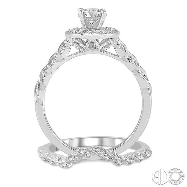 5/8 ctw Spiral Round Cut Diamond Wedding Set With 1/2 ctw Round Engagement Ring and 1/10 ctw Wedding Band in 14K White Gold Image 3 Trinity Diamonds Inc. Tucson, AZ
