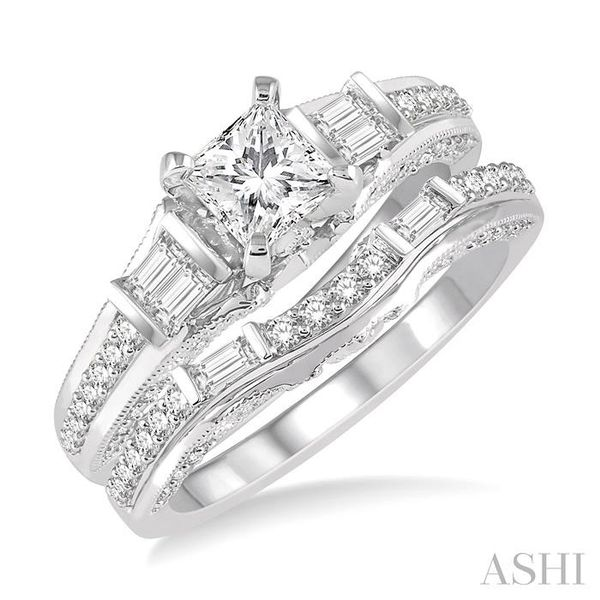 1 1/5 Ctw Diamond Wedding Set with 7/8 Ctw Princess Cut Engagement Ring and 1/3 Ctw Wedding Band in 14K White Gold Trinity Diamonds Inc. Tucson, AZ
