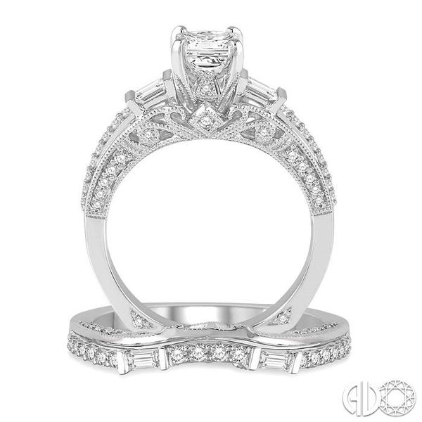 1 1/5 Ctw Diamond Wedding Set with 7/8 Ctw Princess Cut Engagement Ring and 1/3 Ctw Wedding Band in 14K White Gold Image 3 Trinity Diamonds Inc. Tucson, AZ