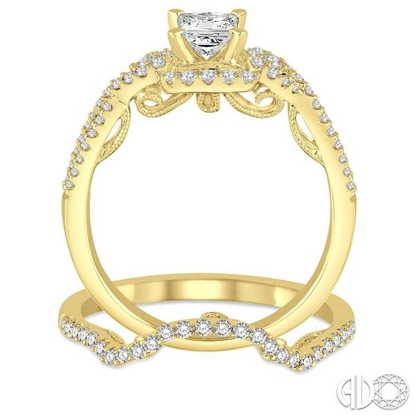 3/4 Ctw Diamond Bridal Set with 1/2 Ctw Princess Cut Engagement Ring and 1/6 Ctw Wedding Band in 14K Yellow Gold Image 3 Trinity Diamonds Inc. Tucson, AZ