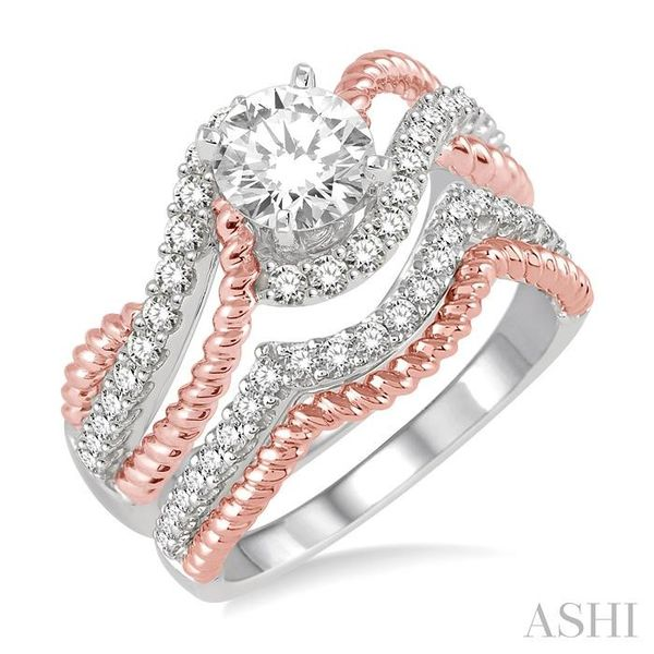 1 1/3 Ctw Diamond Wedding Set with 1 1/10 Ctw Round Cut Engagement Ring and 1/4 Ctw Wedding Band in 14K White and Rose Gold Trinity Diamonds Inc. Tucson, AZ