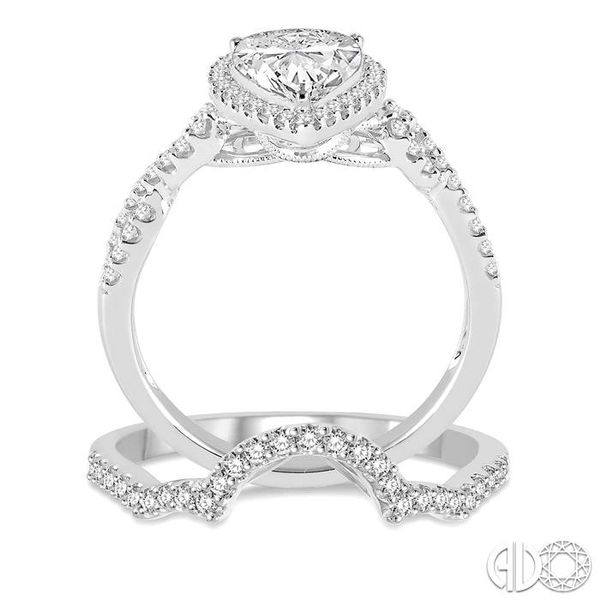 1 1/3 Ctw Diamond Wedding Set With 1 1/6 Ctw Pear Shape Engagement Ring and 1/6 Ctw Arched Wedding Band in 14K White Gold Image 3 Trinity Diamonds Inc. Tucson, AZ