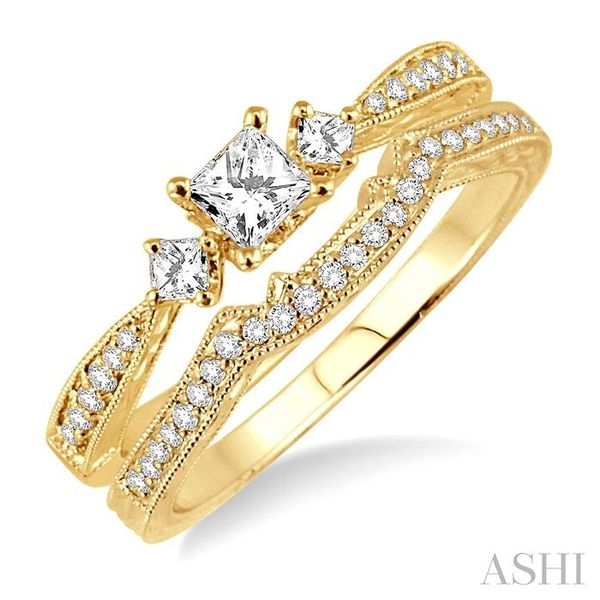 1/2 Ctw Diamond Wedding Set with 3/8 Ctw Princess Cut Engagement Ring and 1/10 Ctw Wedding Band in 14K Yellow Gold Trinity Diamonds Inc. Tucson, AZ