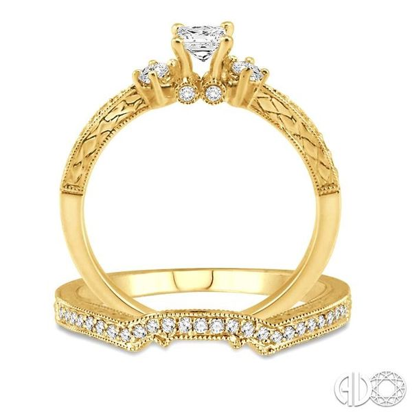 1/2 Ctw Diamond Wedding Set with 3/8 Ctw Princess Cut Engagement Ring and 1/10 Ctw Wedding Band in 14K Yellow Gold Image 3 Trinity Diamonds Inc. Tucson, AZ