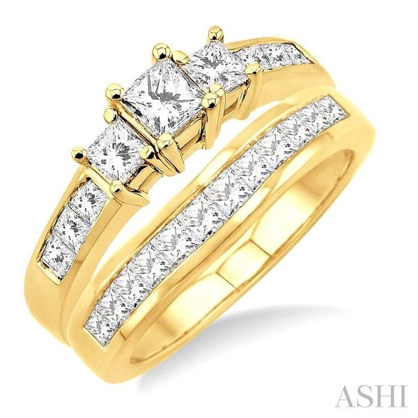 1 1/2 Ctw Diamond Wedding Set with 1 Ctw Princess Cut Engagement Ring and 1/2 Ctw Wedding Band in 14K Yellow Gold Trinity Diamonds Inc. Tucson, AZ