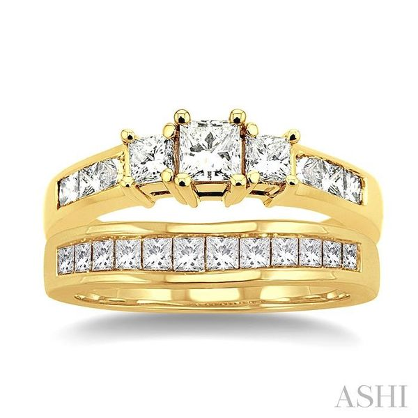 1 1/2 Ctw Diamond Wedding Set with 1 Ctw Princess Cut Engagement Ring and 1/2 Ctw Wedding Band in 14K Yellow Gold Image 2 Trinity Diamonds Inc. Tucson, AZ