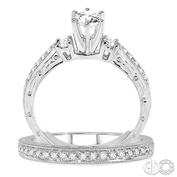 3/4 Ctw Diamond Wedding Set with 5/8 Ctw Round Cut Engagement Ring and 1/5 Ctw Wedding Band in 14K White Gold Image 3 Trinity Diamonds Inc. Tucson, AZ