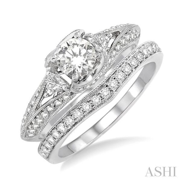 1 1/5 Ctw Diamond Wedding Set with 1 Ctw Round Cut Engagement Ring and 1/5 Ctw Wedding Band in 14K White Gold Trinity Diamonds Inc. Tucson, AZ