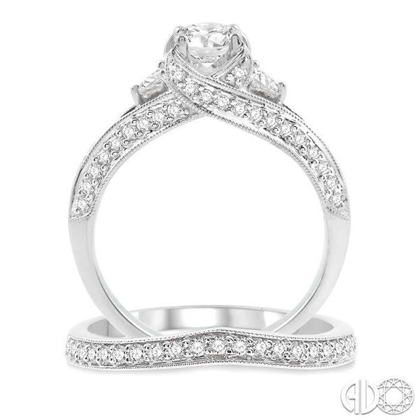 1 1/5 Ctw Diamond Wedding Set with 1 Ctw Round Cut Engagement Ring and 1/5 Ctw Wedding Band in 14K White Gold Image 3 Trinity Diamonds Inc. Tucson, AZ