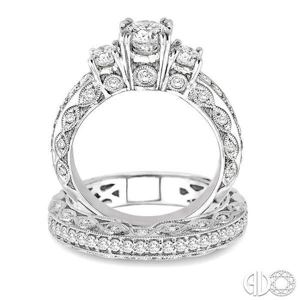 1 5/8 Ctw Diamond Wedding Set with 1 1/4 Ctw Round Cut Engagement Ring and 3/8 Ctw Wedding Band in 14K White Gold Image 3 Trinity Diamonds Inc. Tucson, AZ