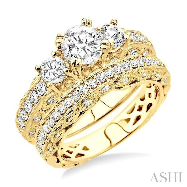 1 5/8 Ctw Diamond Wedding Set with 1 1/4 Ctw Round Cut Engagement Ring and 3/8 Ctw Wedding Band in 14K Yellow Gold Trinity Diamonds Inc. Tucson, AZ