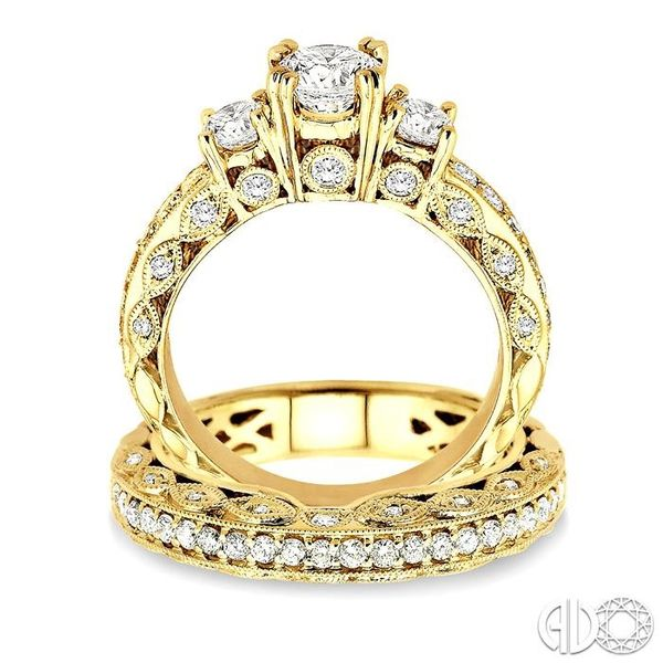 1 5/8 Ctw Diamond Wedding Set with 1 1/4 Ctw Round Cut Engagement Ring and 3/8 Ctw Wedding Band in 14K Yellow Gold Image 3 Trinity Diamonds Inc. Tucson, AZ