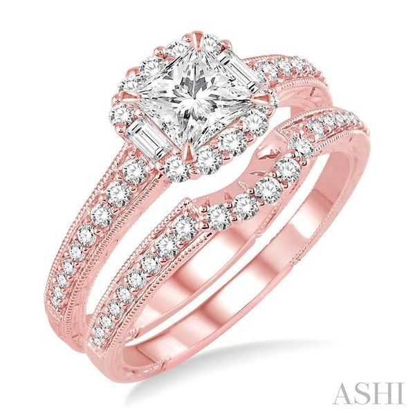 1 Ctw Diamond Wedding Set with 3/4 Ctw Princess Cut Engagement Ring and 1/5 Ctw Wedding Band in 14K Rose Gold Trinity Diamonds Inc. Tucson, AZ