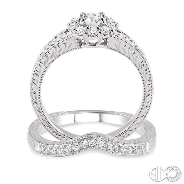 3/4 Ctw Diamond Wedding Set with 5/8 Ctw Round Cut Engagement Ring and 1/6 Ctw Wedding Band in 14K White Gold Image 3 Trinity Diamonds Inc. Tucson, AZ